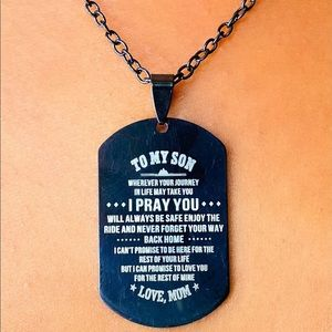 """""""To My Son, Love Mom"""" Military Dog Tag"""